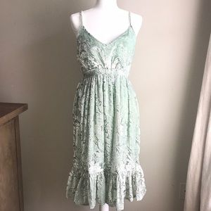 Anthropologie boho mint and gold velour dress S
